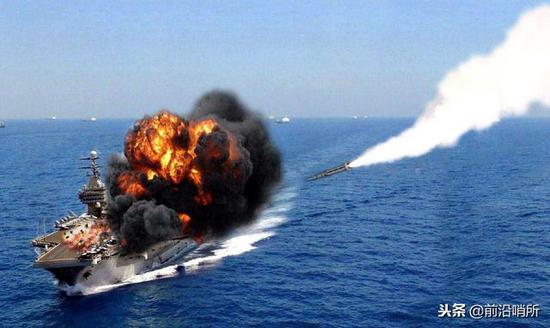 抨击美军航母模拟图