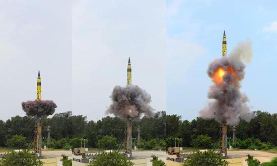 图片:今年6月3日,烈火-5首次从发射筒中发射