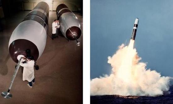 ▲三叉戟D5型潜射弹道导弹