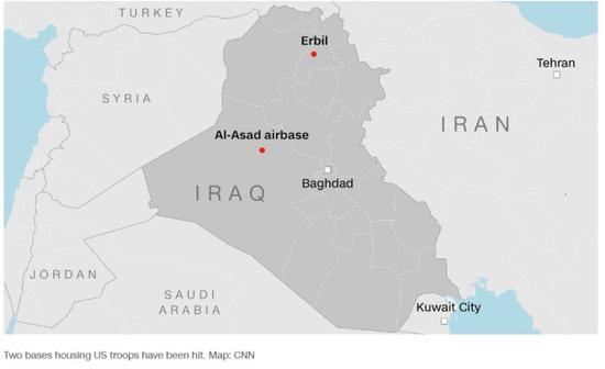 被伊朗导弹袭击的两个美军基地示意图,图源:CNN新闻