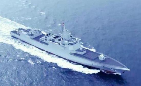 第3艘055大驱海试 烟囱进行改进降低信号特征