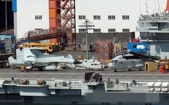 第三次试航之前舰载机模型已经上舰