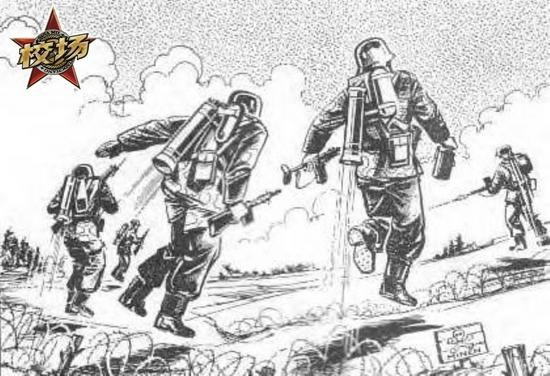 一个关于德军使用单兵喷气装置跨越铁丝网的设想