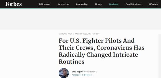 美媒:疫情已彻底改变了美军战机飞行的流程