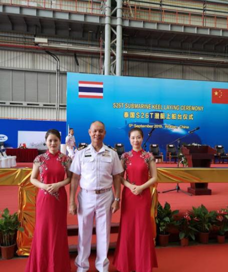 中国首泰国S26T潜艇上船台 泰海军司令亲自出席(图)