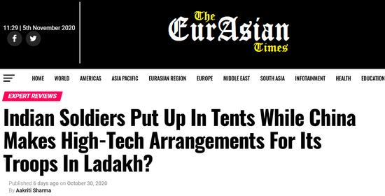 印媒:解放军住进温暖的高科技营房 印军却还住帐篷