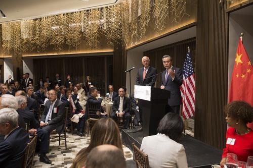 王毅在美国四整体晚餐会上发外演讲。 交际部网站 图