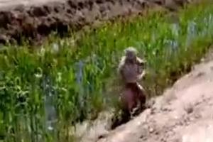 伊拉克战场轻松一刻:士兵落泥坑人被拉上来裤子没了