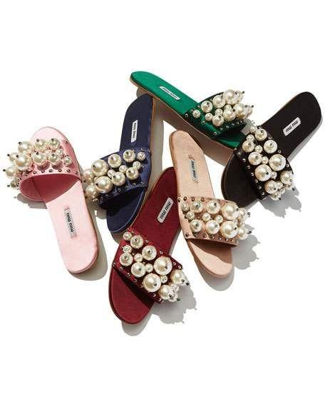 miu miu珍珠拖鞋