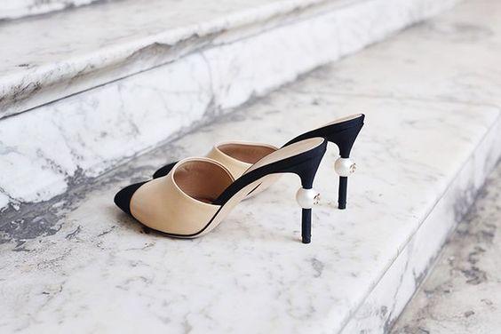 chanel珍珠高跟鞋