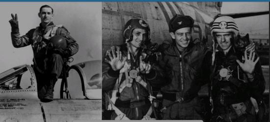 (图左为戴维斯,右为他和其他美国飞行员庆祝在大和岛偷袭志愿军成功)