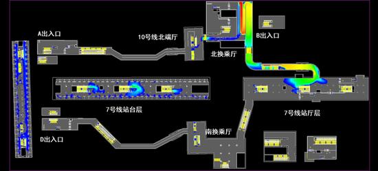 新建的两条换乘通道示意图。
