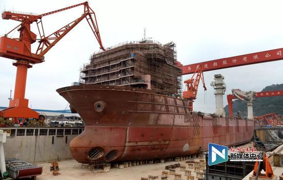 马尾船政(连江)重点特种船舶项目。叶义斌/摄