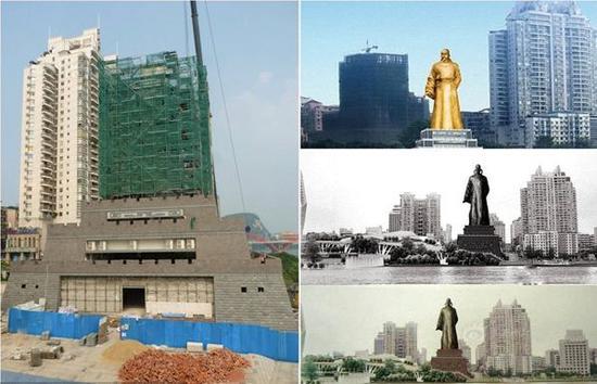 """(图:左边是2014年9月7日,某市风情港旁边的柳宗元铜像,围有绿色防护网部分开始""""清理""""。右边是柳宗元铜像设计效果图。)"""