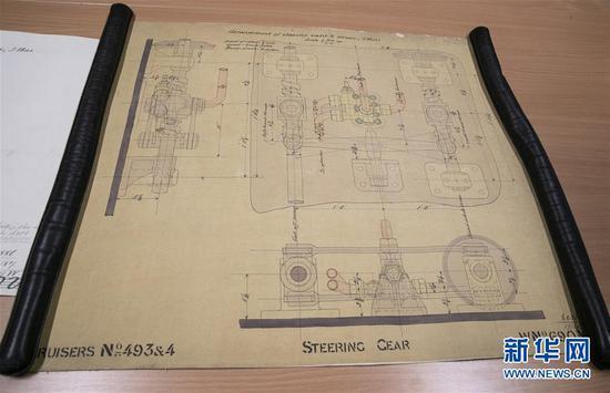 这是11月2日在英国纽卡斯尔的泰恩—威尔档案馆拍摄的致远舰设计图纸。新华社记者 韩岩 摄