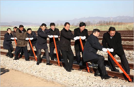 朝韩铁路和公路对接项现在开工仪式(青瓦台)