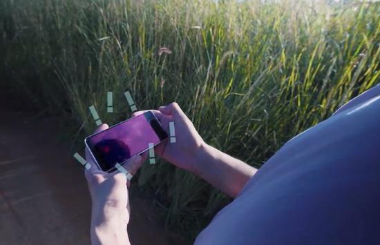 美国记者在乡野间展示自己满格的手机信号。(视频截图)