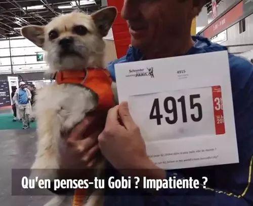 迪恩带着狗狗Gobi一起领取马拉松比赛号码布。来源:欧洲时报