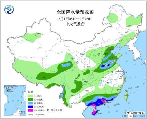 全国降水量预报图(8月1日8时-2日8时)