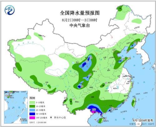 全国降水量预报图(8月2日8时-3日8时)