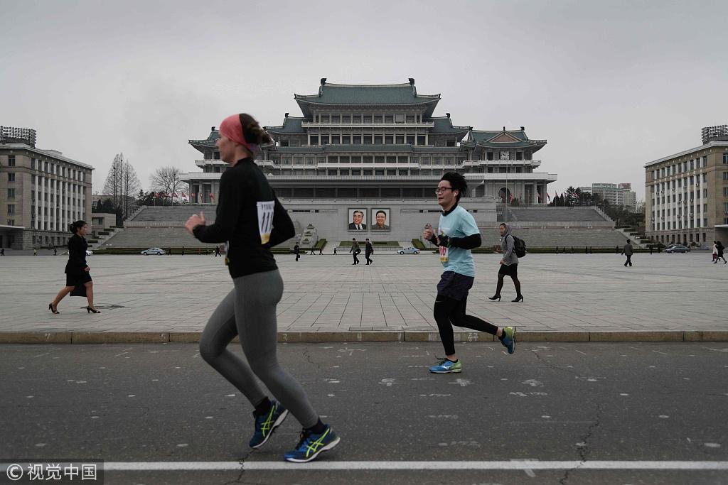 图为平壤马拉松的场景(视觉中国)