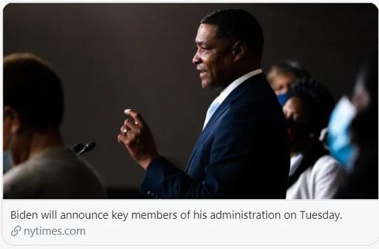 拜登宣布主要人事任命。/ 《纽约时报》报道截图