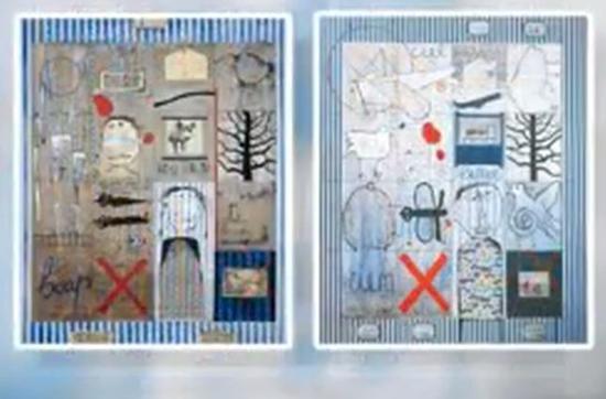 图左为叶永青作品《Birthday Memories》1994年创作;图右为西尔万作品《Prinaud Andre》1990年创作(图片来源:比利时RTBF电视台视频截图)
