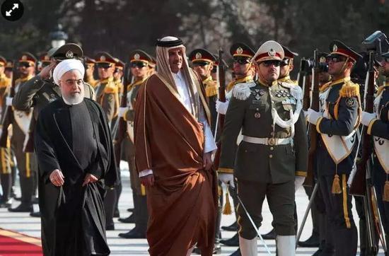 伊朗总统哈桑·鲁哈尼与卡塔尔埃米尔