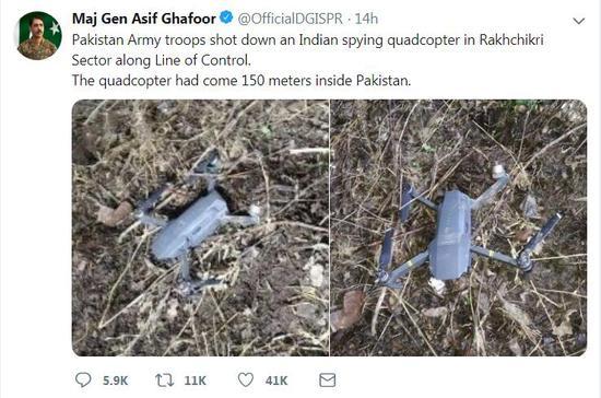 (巴基斯坦军方发言人阿西夫·加富尔推特截图)