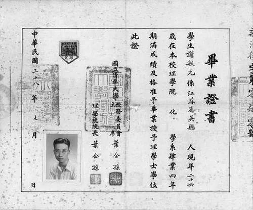 谢毓元清华大学毕业证