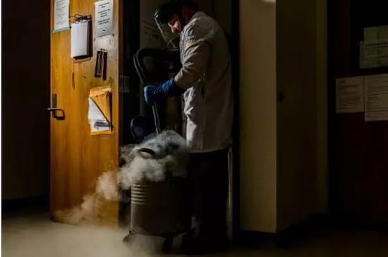 ▲液氮冷冻胚胎   图据华盛顿邮报