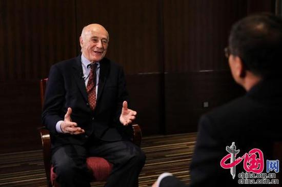 美国著名国际政治学者、哈佛大学肯尼迪政府学院教授约瑟夫·奈接受中国网专访。 中国网记者董宁 摄影
