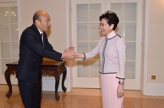 韩国瑜和林郑月娥(图源:大公报)