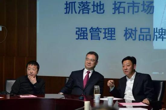 △贾樟柯(左)、时任山西省委宣传部长王清宪(中)与胡玉亭(右)