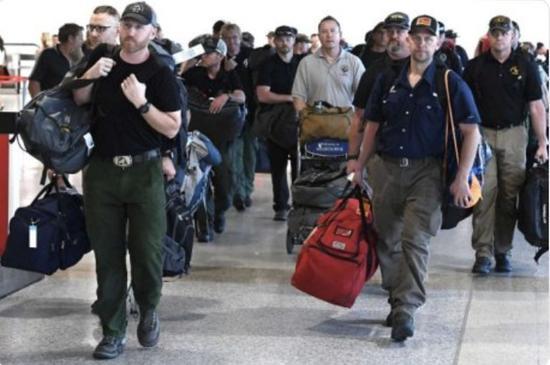 美国消防员抵达澳大利亚。图片来自网络