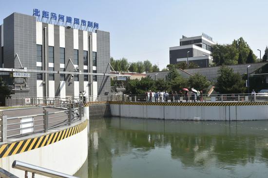 ↑位于北京房山的南水北调中线北拒马河暗渠节制闸(2019年9月3日摄)。