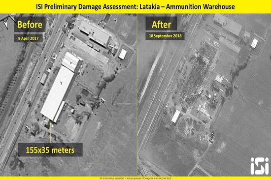 左边是弹药仓库被摧毁前的样子,右边是其完全被摧毁后(推特截图)