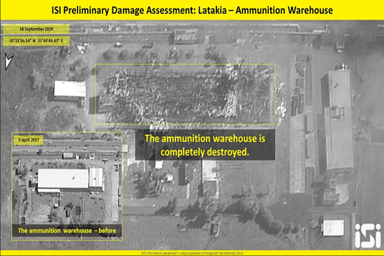 放大之后的弹药仓库,被以军轰炸之后已变为一片废墟(推特截图)