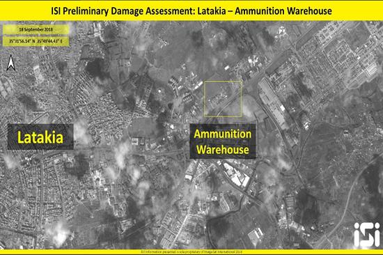 图片上显示右边黄框区域内是叙利亚的弹药仓库(推特截图)