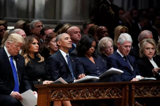 """△美国前总统老布什葬礼,三任总统""""同框"""""""