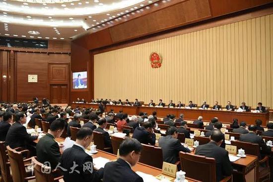 ▲1月29日下午,十三届全国人大常委会第八次会议在北京人民大会堂举行第一次全体会议。(中国人大网)