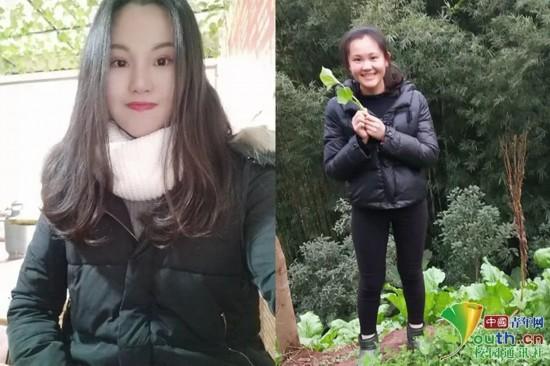 """图为贵州工程应用技术学院学生袁忠鸿春节回家前后的对比照。她说:""""卸掉一身繁华,回到家做最轻松的自己,感受最自然的亲情。""""本人供图"""