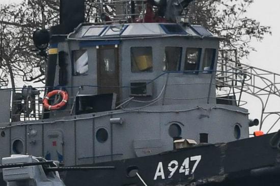 刻赤海峡事件中被俄方扣押的乌克兰船只。(图:美联社)