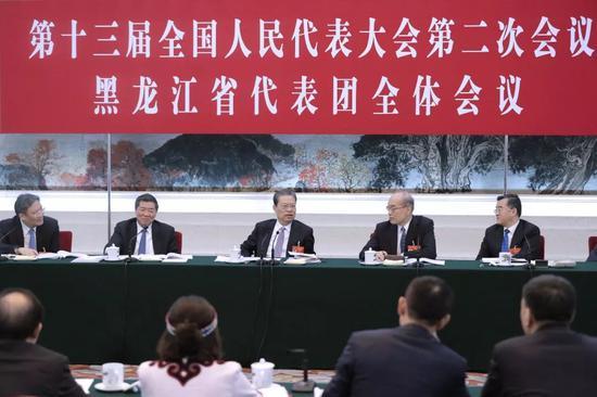 3月5日,中共中央政治局常委、中央纪委书记赵乐际参加十三届全国人大二次会议黑龙江代表团的审议。
