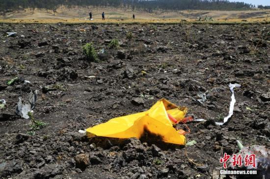 资料图:3月12日,埃塞俄比亚航空公司失事航班ET302的救援工作基本结束。图为事故现场散落的救生衣。中新社记者 王曦 摄