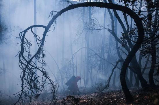 △ 2017年3月19日,四川凉山木里,森林中扑灭大火的消防员。