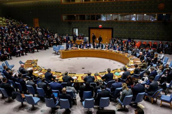 2月26日,在位于纽约的联合国总部,安理会举行委内瑞拉问题公开会。新华社记者李木子摄