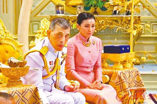 泰媒播放两人的结婚片段(图源:法新社)