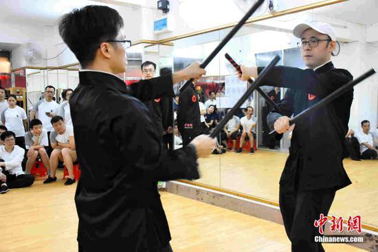 仁义咏春拳馆2019年5月学员升级考试现场。受访者供图