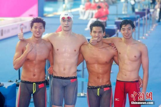 韩国光州2019国际泳联世界游泳锦标赛男子4X200米自由泳接力中国队合影。中新社记者 韩海丹 摄